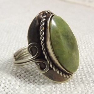 Vintage Stone Ring in Comfort Setting, Size 8